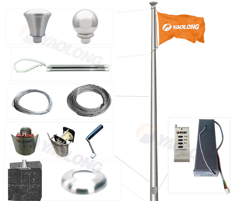 the electricoperated wind drive award raising system flag pole sports