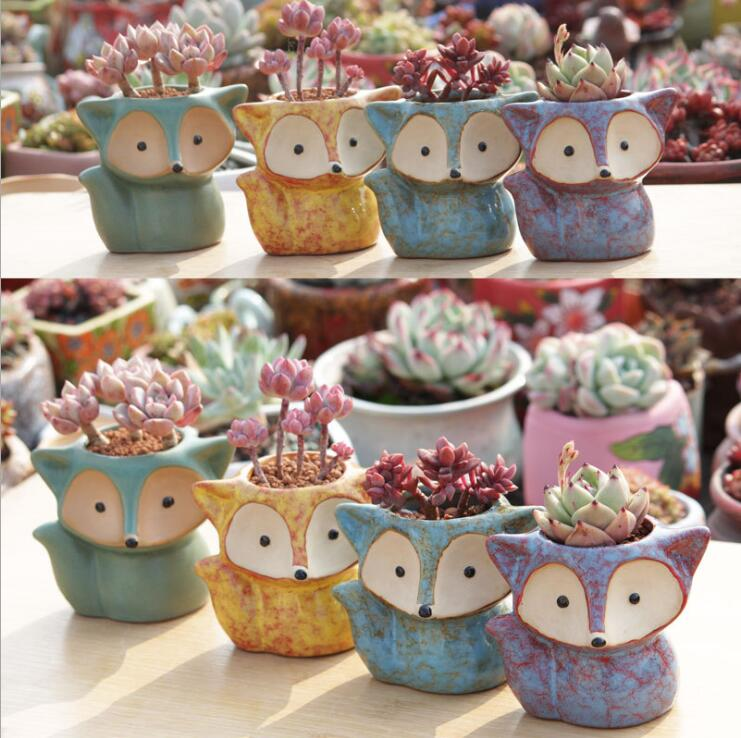 Cartoon Cute Mini Desktop fox shaped Ceramic Animal Pot Succulent Planter