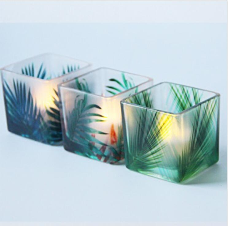 Decorative square tealight glass candle holder for daily life set of 3
