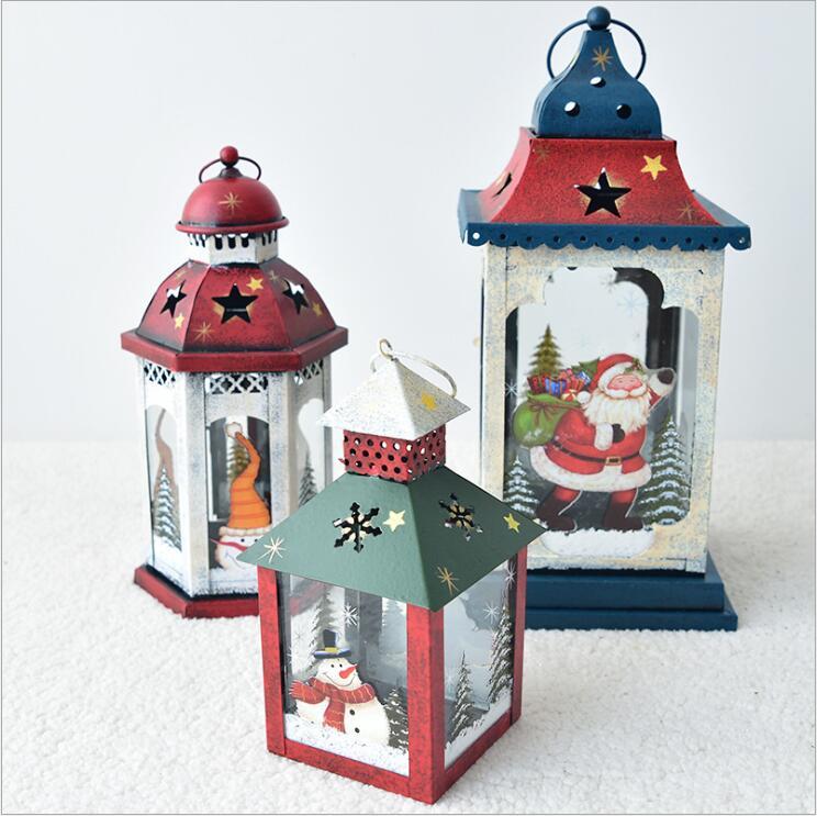 European Vintage Iron Art Home Courtyard Santa Claus Snowman Christmas lantern Candle Holder Decoration