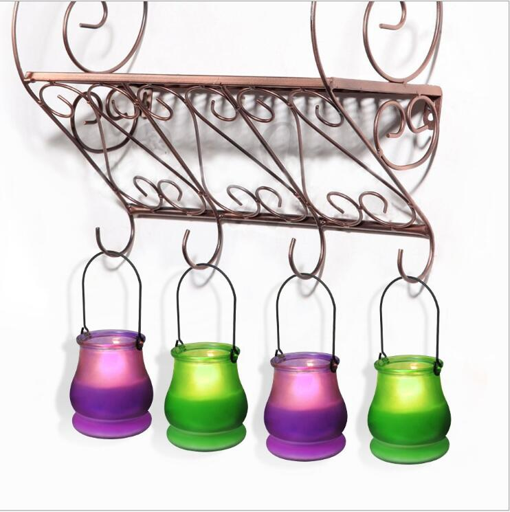 Glass hurricane lamp hanging glass candle jar glass container for wax tealight votive
