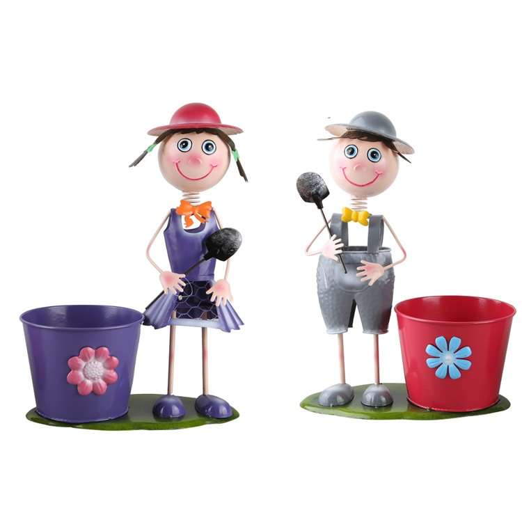 Metal Pot Garden Planter Iron Boy Girl Figures Garden Flower Pot