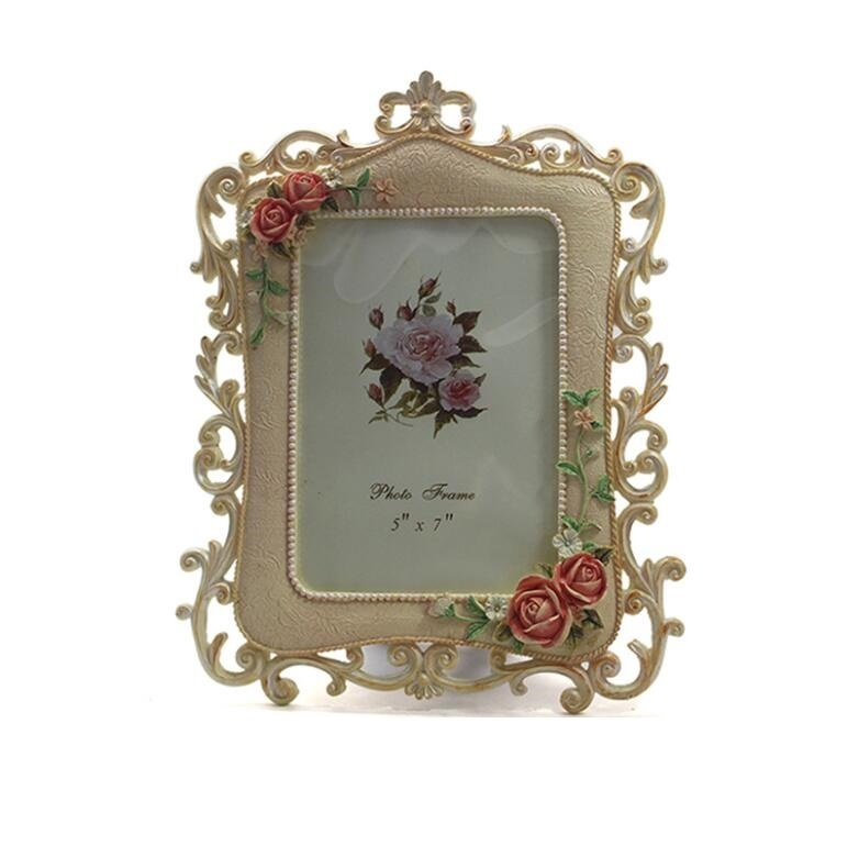 Rose Flowers Polyresin Standing 6inch Picture Photo Frame