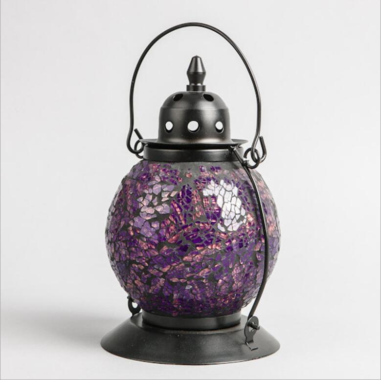 Turkish glass hanging mosaic tealight lantern holder lamp with metal stand