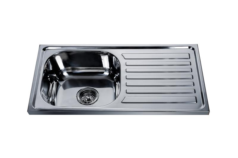 Turkmenistan hot sale 7540CM polish single bowl with drainboard kitchen sink 7540S