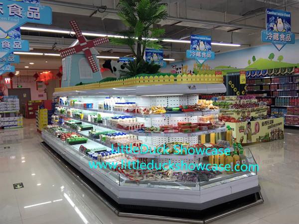Supermarket Upright Refrigerated Showcase Vegetable Fruit Cabinet
