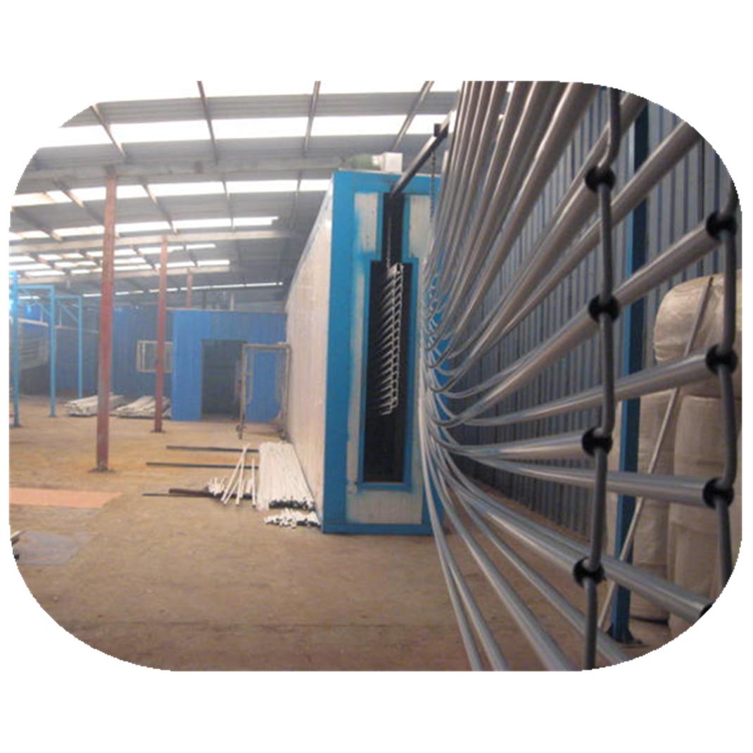 Electrostatic powder coating line for aluminum profiles