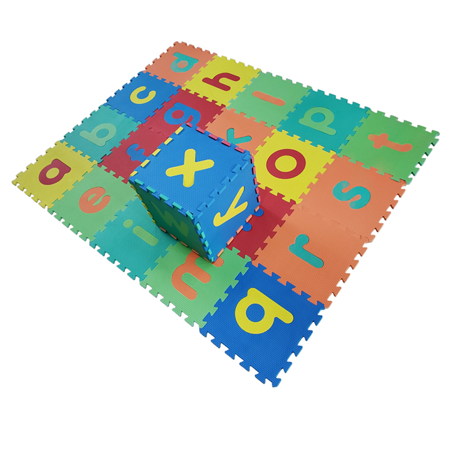 QT MAT Nontoxic Odorless Formamide Below 200PPM 12in x 12in 26pcsset EVA Lower Case Alphabets Baby Puzzle Mat Flooring