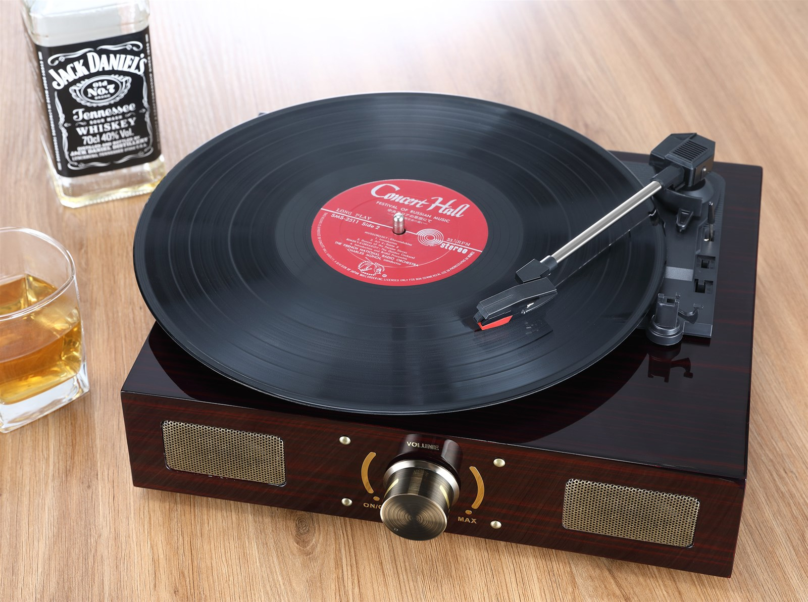 LuguLake Vinyl Record Player Turntable With Stereo 3Speed RCA Output Vintage Phonograph With High Gloss Surface