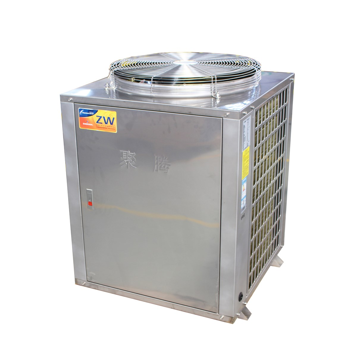 EVI Low temp Air source Vertical type Commercial Air to water heat pumps Stainless Steel Housing