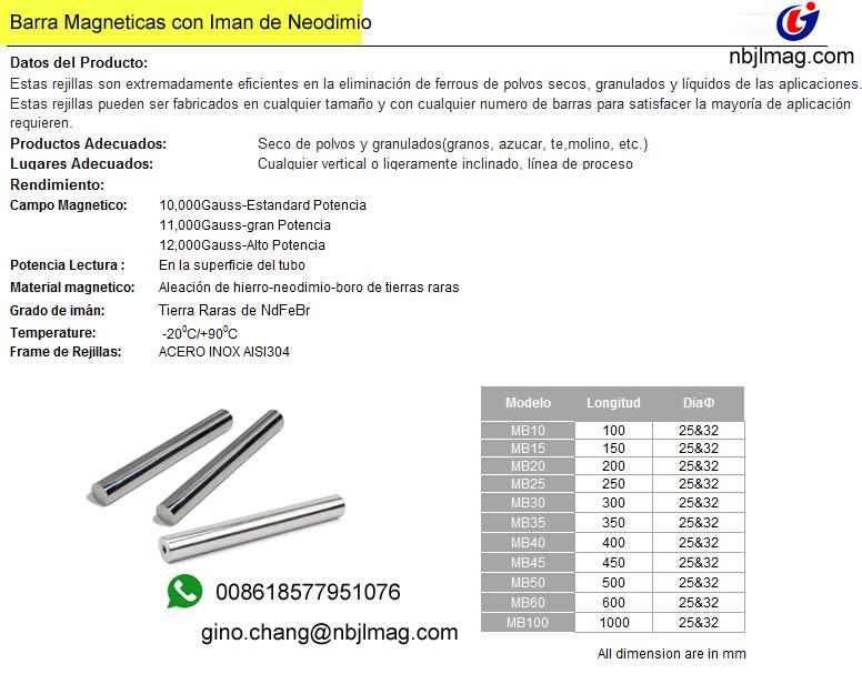 Food Processing Magnetsmagnetic bar 25x300mm 10000gs