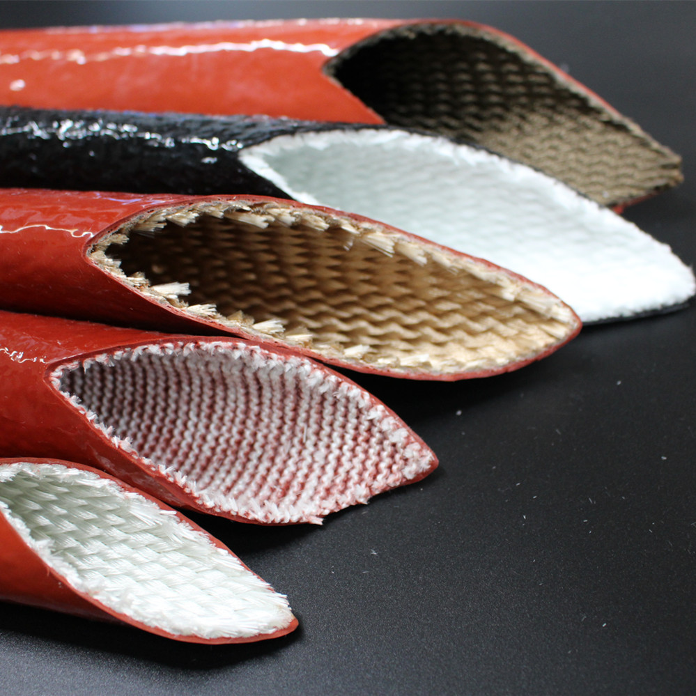 Silicone coated fiberglass hydraulic hose protection sleeve