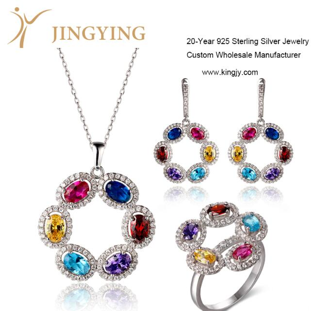 Sterling silver pendant necklace earrings ring jewelry set design custom wholesale