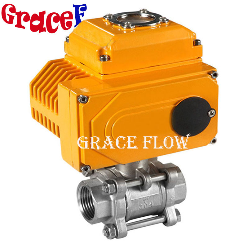 Double Acting Pneumatic Actuated Stainless Steel 3 Piece Ball Valve