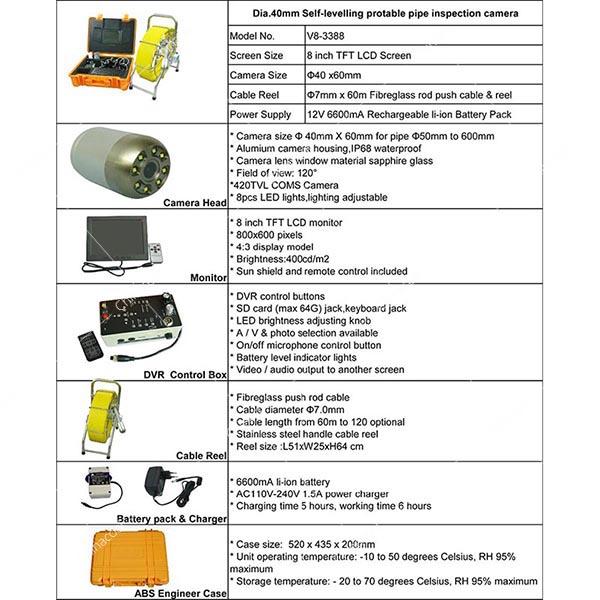 V83388 Sewer Pipe CCTV Survey Inspection Camera