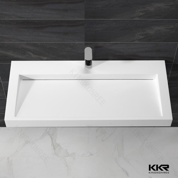 Solid surface wall mounted basin integrated rectangular bathroom sink