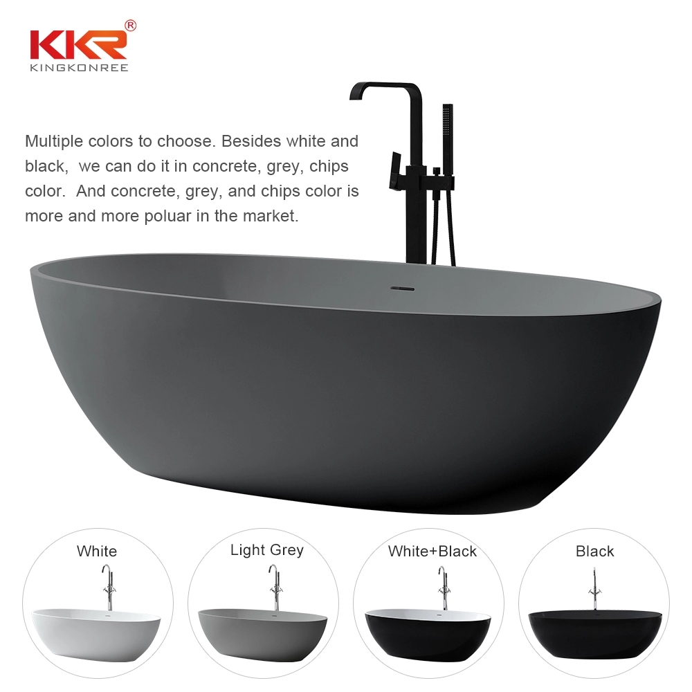 Black Faux Stone Bathtub Solid Surface BathTub Free Standing Bathtub Acrylic