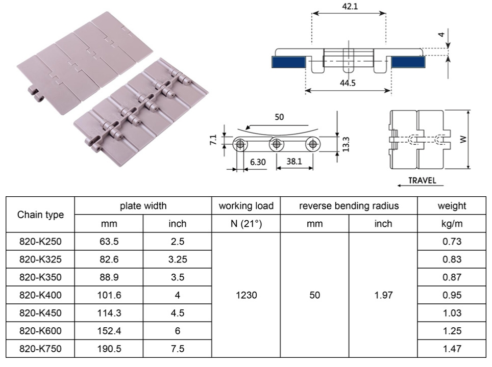 820 straight belt plastic chain belt conveyor width 2532535445675 POM