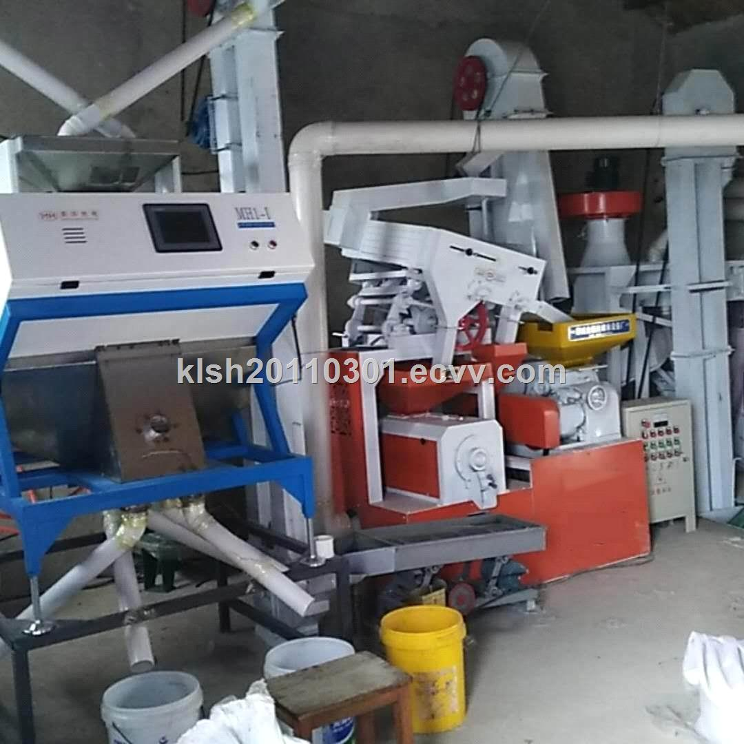 complete equipment rice mill with color sorter