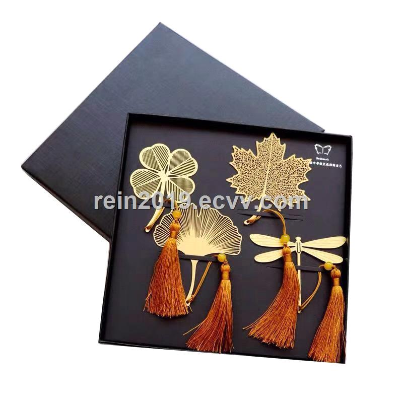 Copper Bookmark with Tassels 4PCS Per Set Packed with Red Display Box and Outer Carton