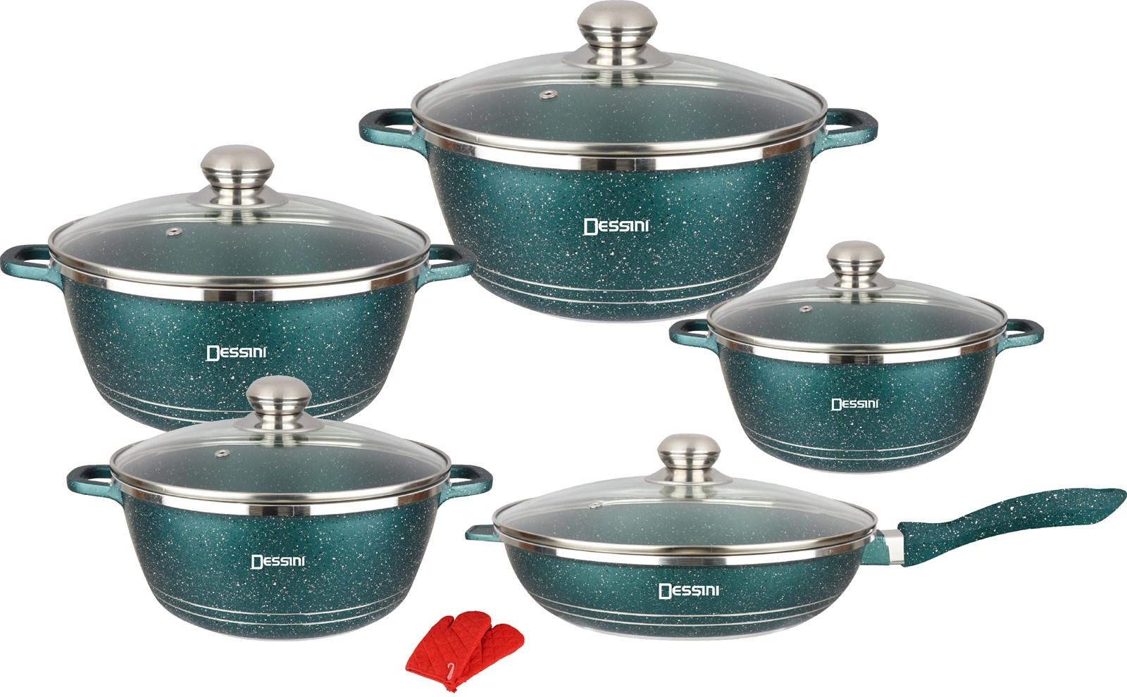 Dessini brand 12pcs cookware set granite coatin pan set nonstick pots sets