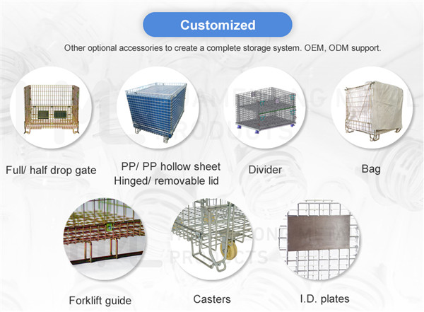 Rigid galvanised collapsible folding portable pet preforms storage steel wire mesh containers with lid for sale