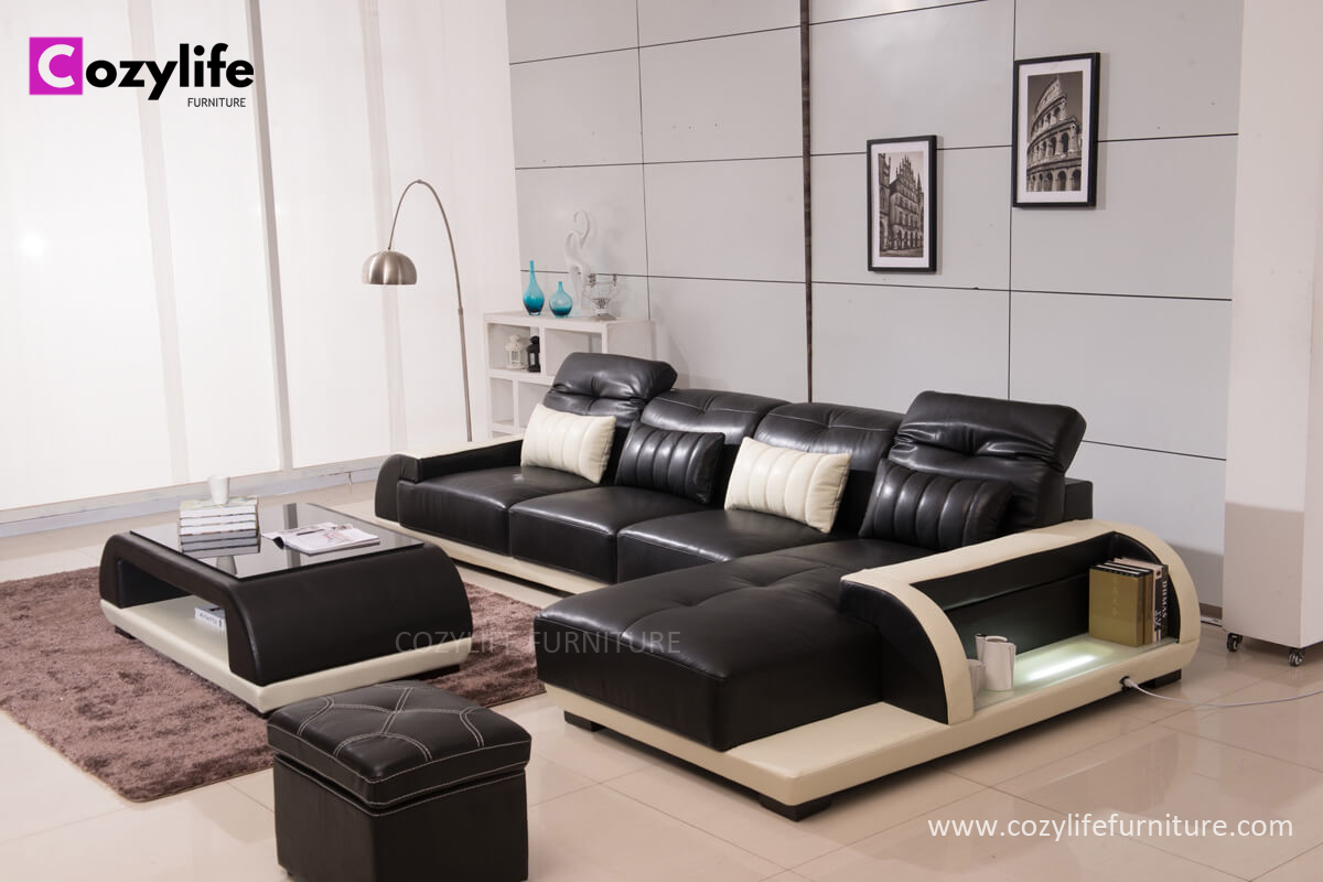 Right hand small l shaped black leather corner sofa