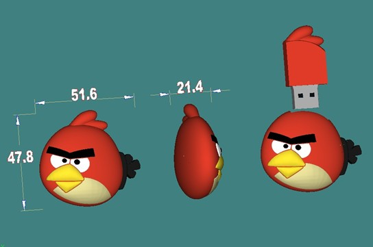 Good quality Angry Bird usb flash drive custom gift 64MB128GB memory stick custom logo