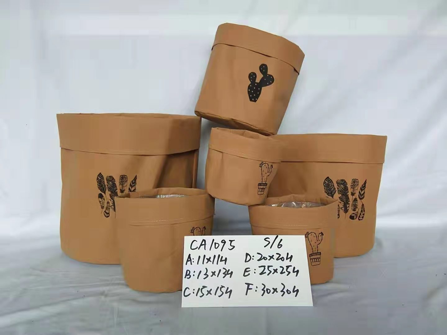 waterproof brown paper bag flower pot
