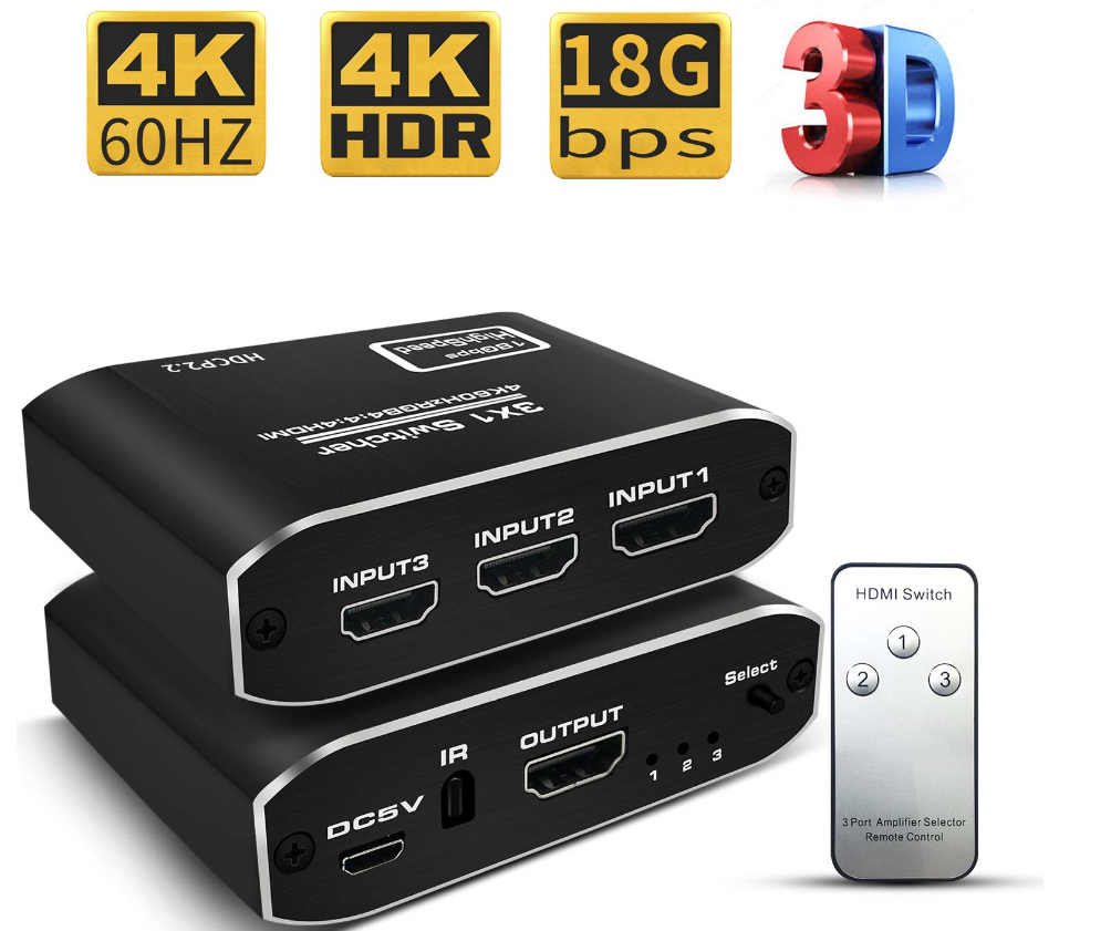 2019 New Arrival Metal HDMI20 Switch 3X1 with RF Remote