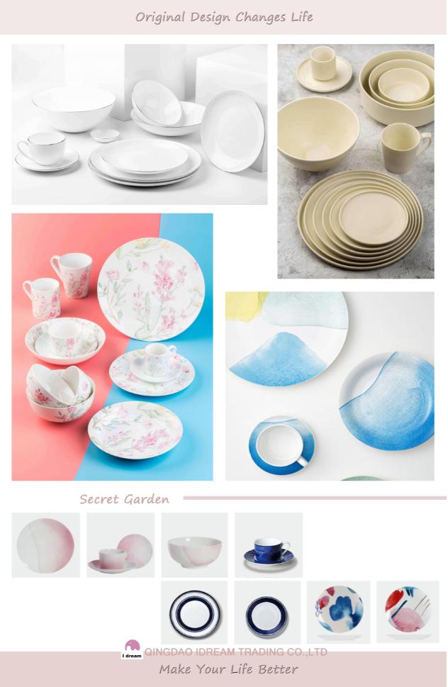 Fine bone china dinnerware with hand painted real platinum rim