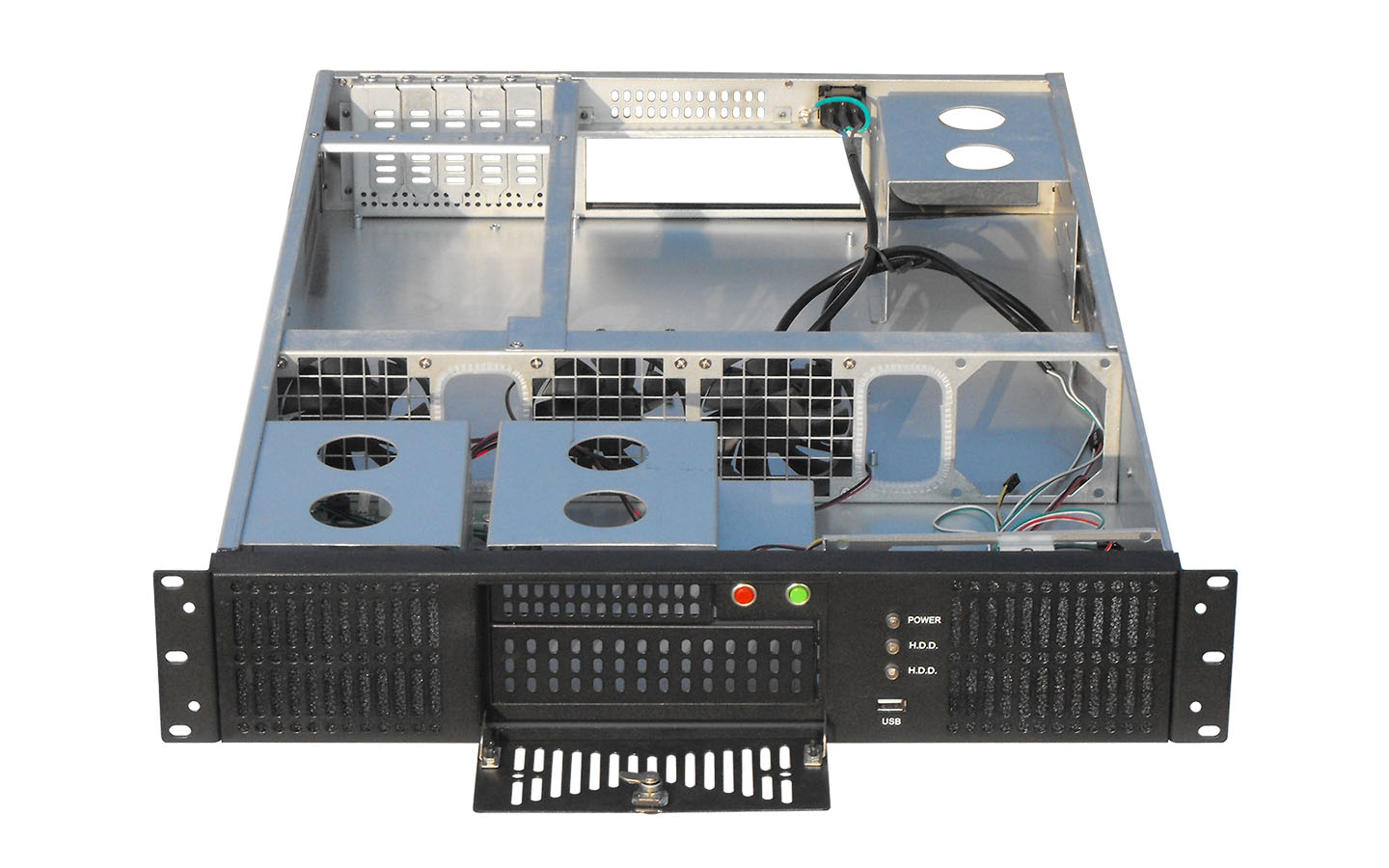2U server case Both the rwo sided of chassis and front panel are designed with radiating 4x standard matching 8025 fans