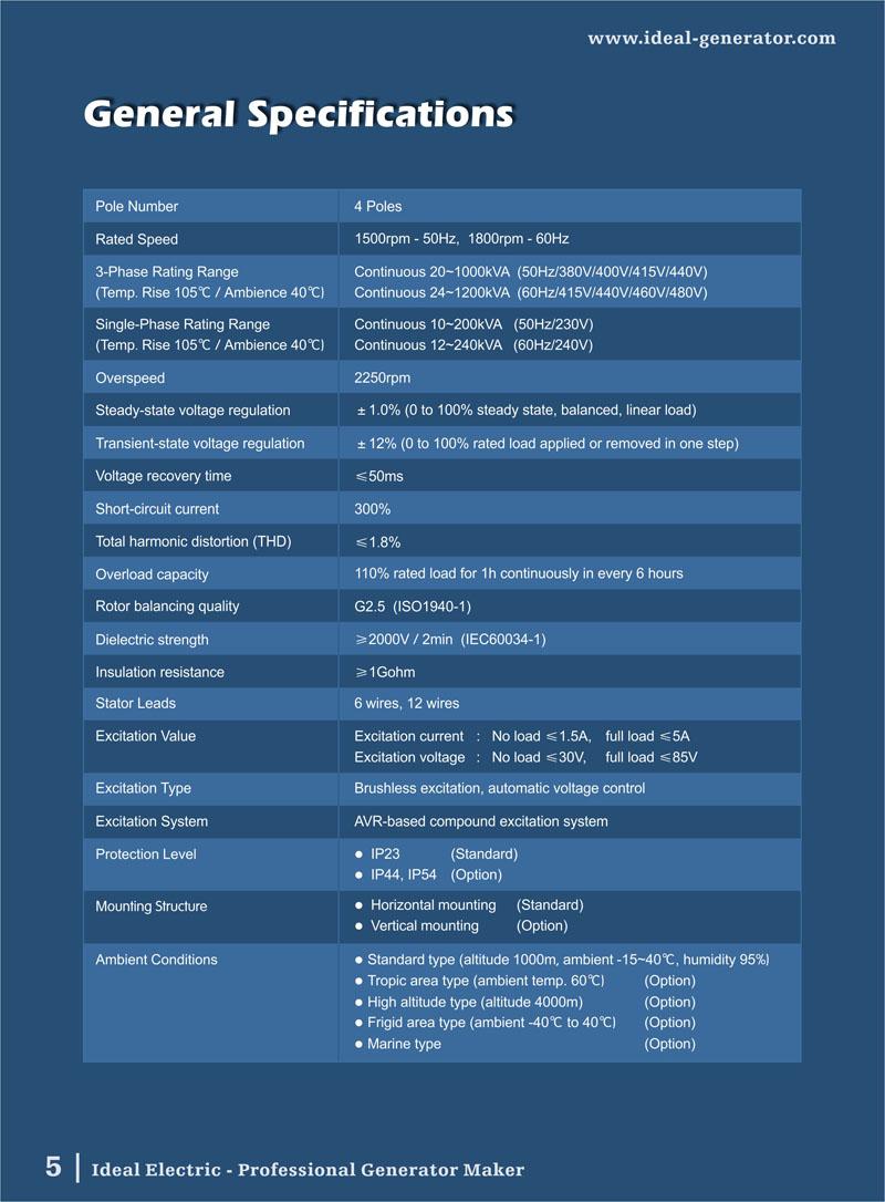 50Hz FullCopper Brushless Generator Alternator 2050kW