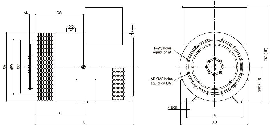 400Hz 26Pole 1846rpm Brushless Generator Alternator 150kVA