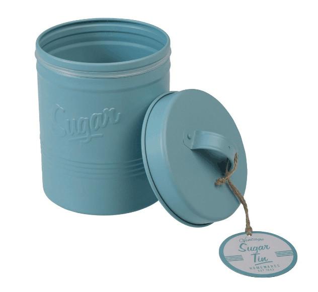 metal round tea coffee sugar canister kitchen storage jar tin