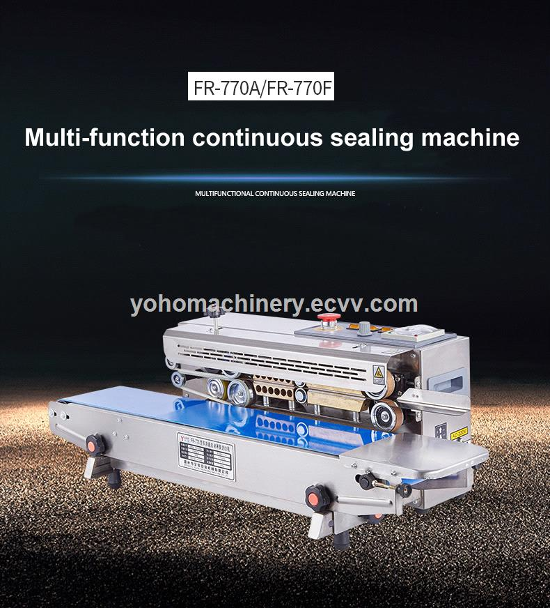 FR770A Automatic horizontal plastic film bags heat sealing machine continuous band sealer machine