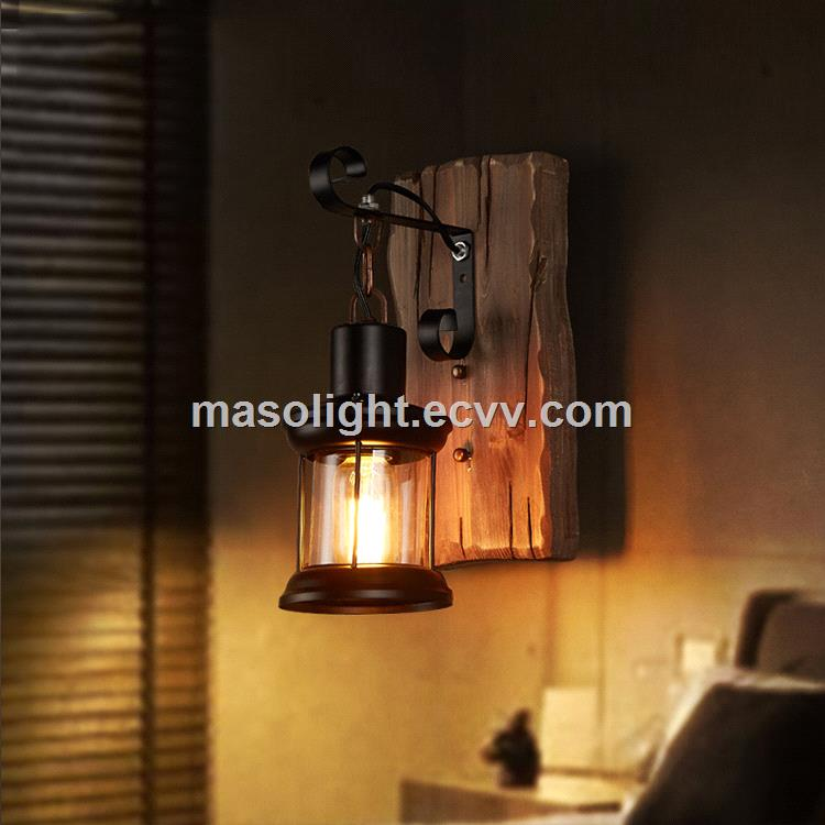 Natural shelf wall wood carved lamp wall mounted square light