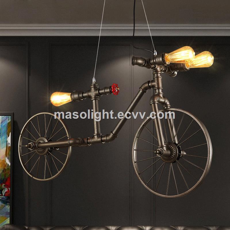 Vintage Art Deco Bicycle Iron Chandelier Pendant Lamp