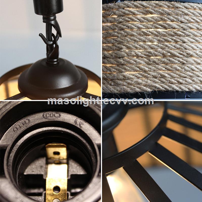 Industrial hanging ceiling lamp chandelier hemp rope light fixture
