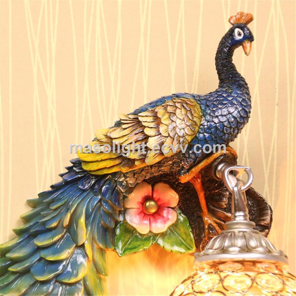 Luxurious resin gold animal wall lamp led peacock night light