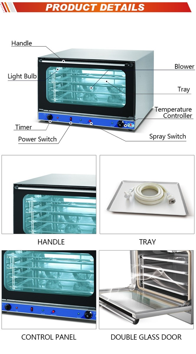 HEO8MB 4 Trays Manual Commercial CounterTop Electric Steam Turbo Convection Oven 82