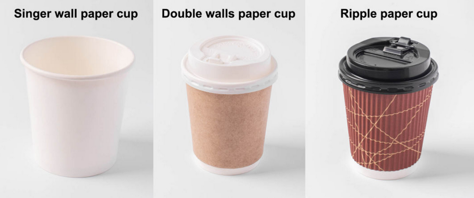 8oz 12oz 16oz Disposable Single WallDouble WallRipple Paper coffee Cups for cold drink and hot drink