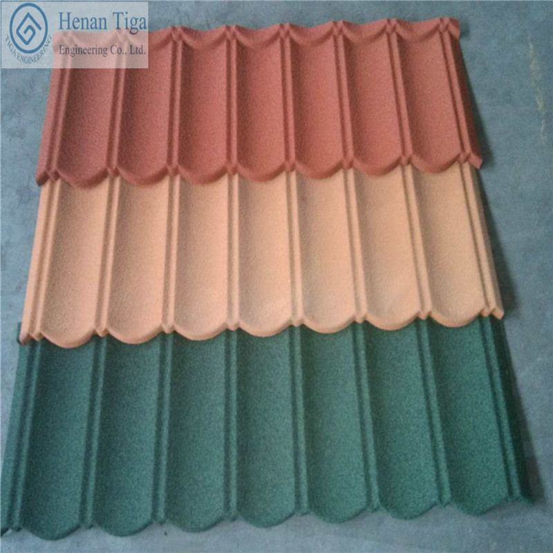 Low Price TIGA Factory supply Stone Chips Coated Roofing Tiles Gravel Steel Roofing Tiles