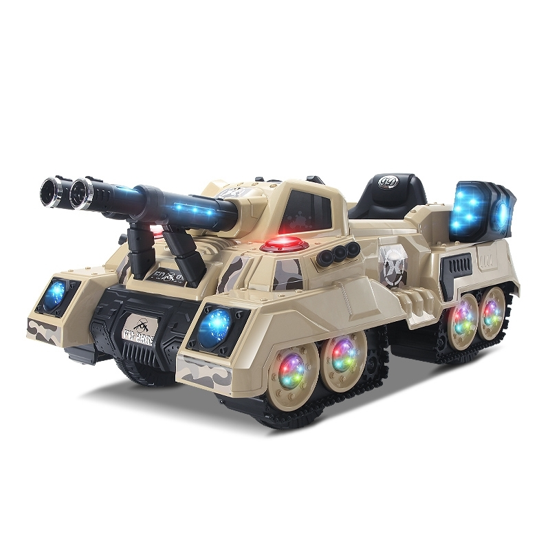 Electronic tank with light music battery control tank ride on car