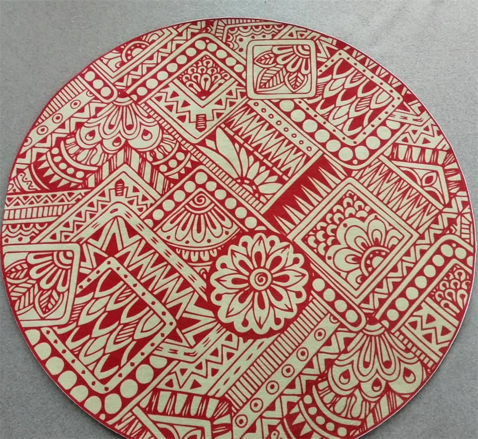 Round Carpet nonwoven Rug Round mat with black snow