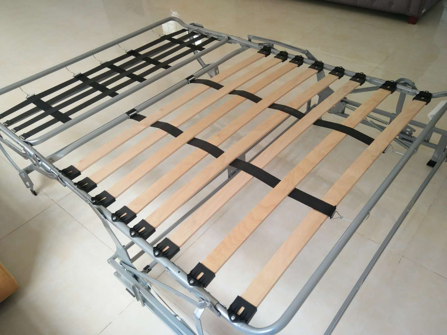 Sofabed Mechanism with steel structure flat belt grid support mattress
