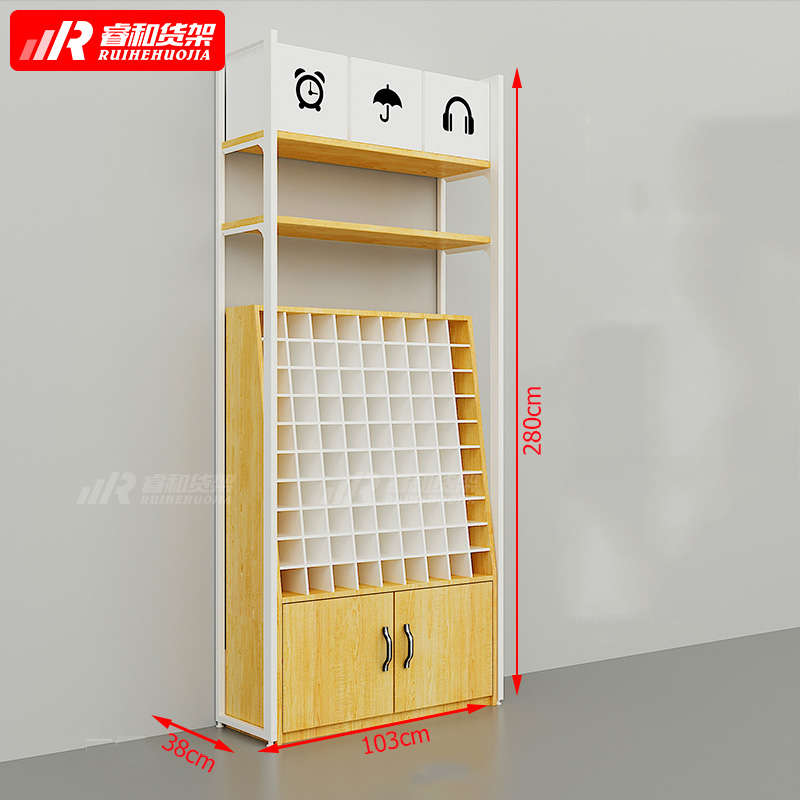 factory price miniso style wooden shelf display for store sunglasses display cabinet