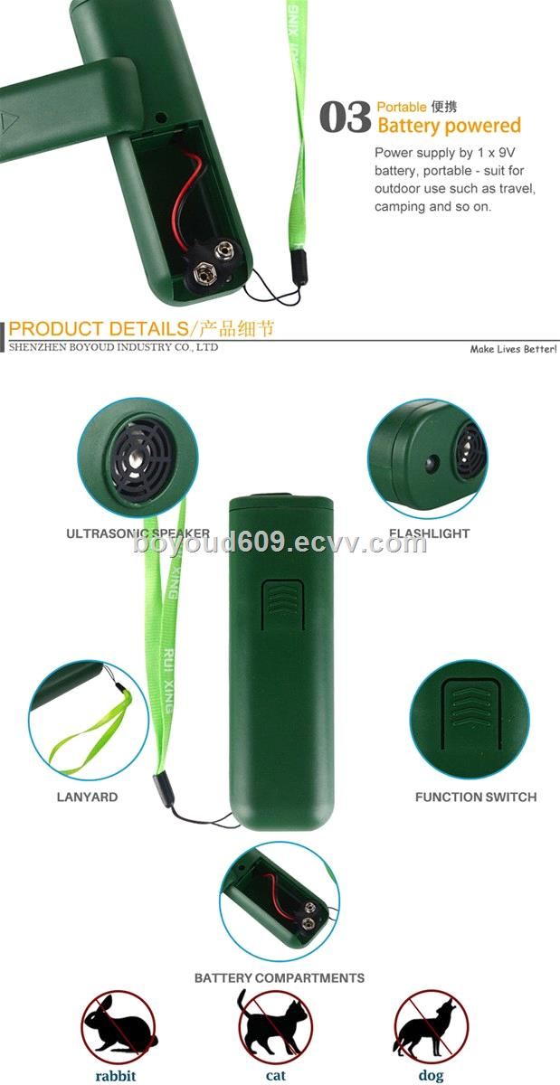 Handheld Ultrasonic dog trainer device dog repellent with LED