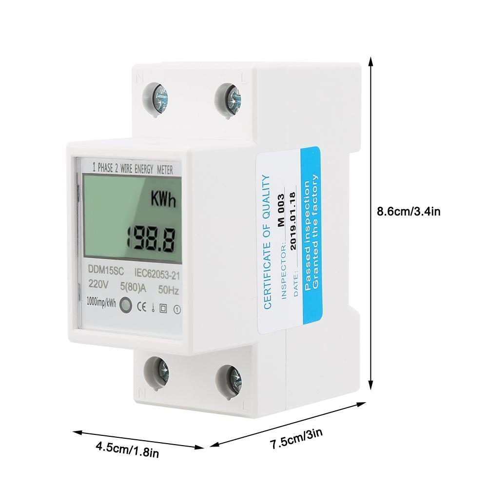 DDM15SC Digital Energy Meter 580A LCD Digital Display Single Phase DINRail Electronic Energy KWh Meter