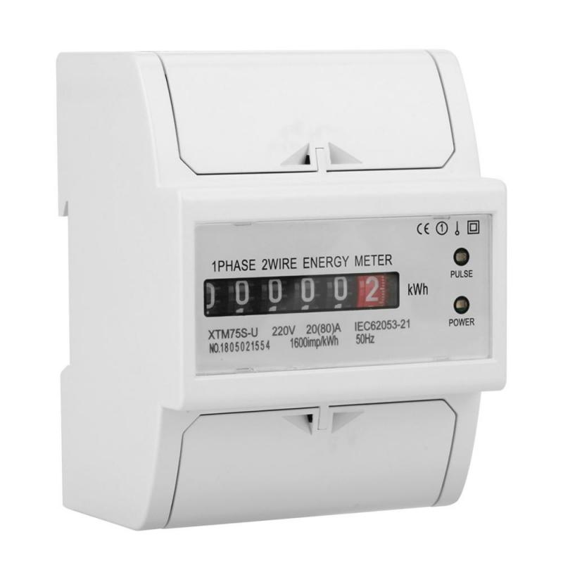 220V Digital 1Phase 2 Wire 4P DINRail Electric Meter Electronic KWh Meter 530A 1560A 2080A Optional XTM75SU Wit